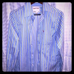 Ezra Fitch blue and white striped shirt